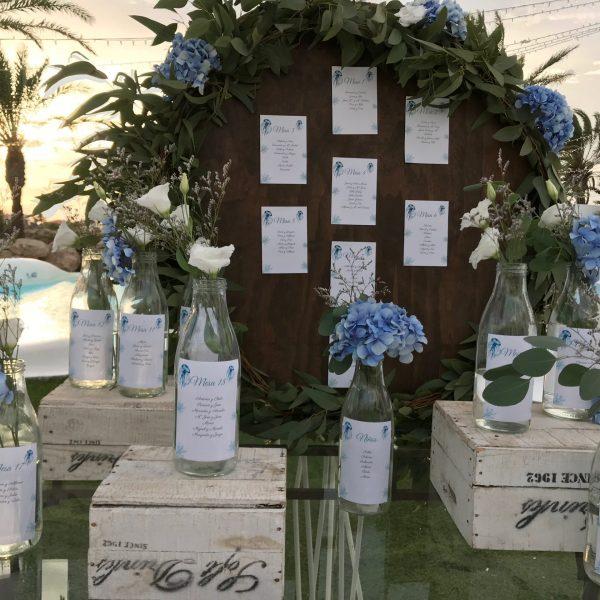 Seating decoración boda en la playa Cabo de Palos